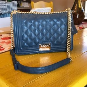 NWT- Gorgeous Bebe Slate Blue Quilted Shoulder Bag